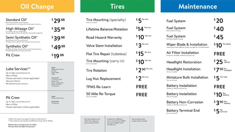 Walmart oil change prices and fees